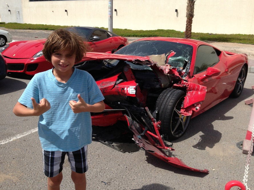 Ahhh, the Ferrari is wrecked!