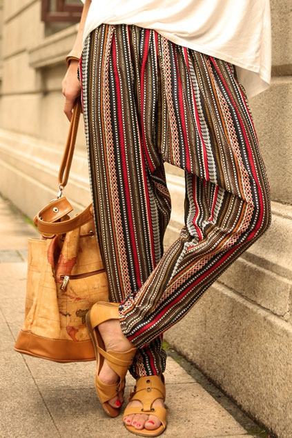 bohemian-striped-harem-pants